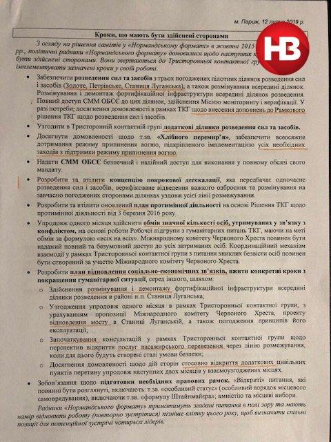 Появился документ об июльских договоренностях Зеленского по Донбассу