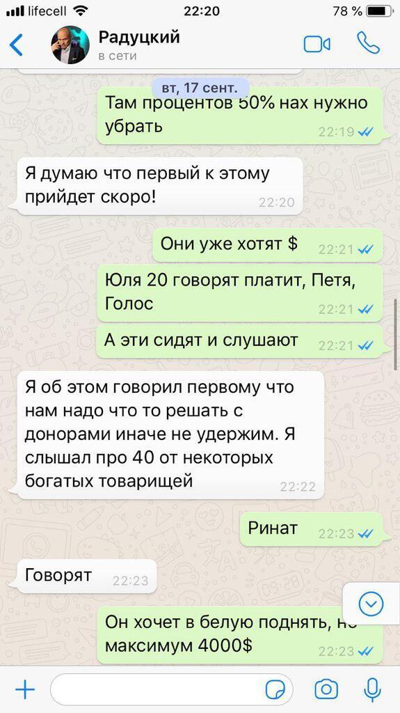 Радуцкий прокомментировал переписку о доплатах нардепам в «конвертах»