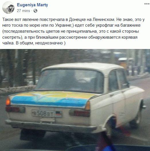 По Донецку ездит авто в цветах флага Украины: фото