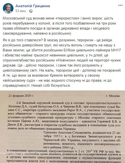Гриценко прокомментировал приговор, который ему вынесли в России