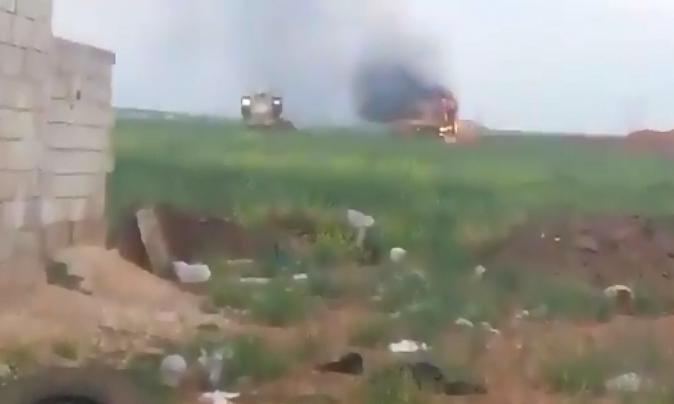 В Сирии подбили военную машину турецкой армии: видео