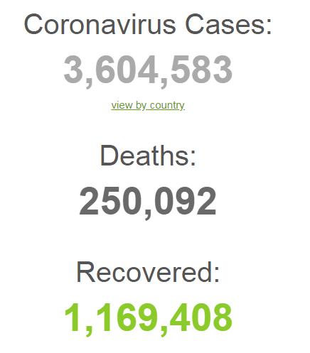 В мире от коронавируса умерли уже 250 тысяч человек