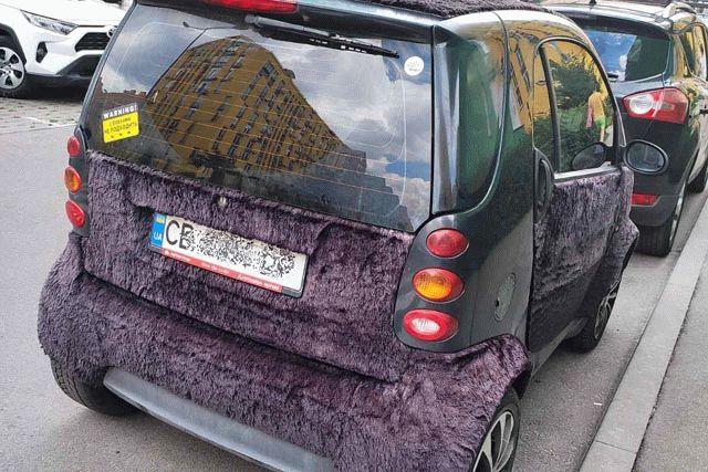 В Киеве водитель отделал свое авто снаружи мехом, фото